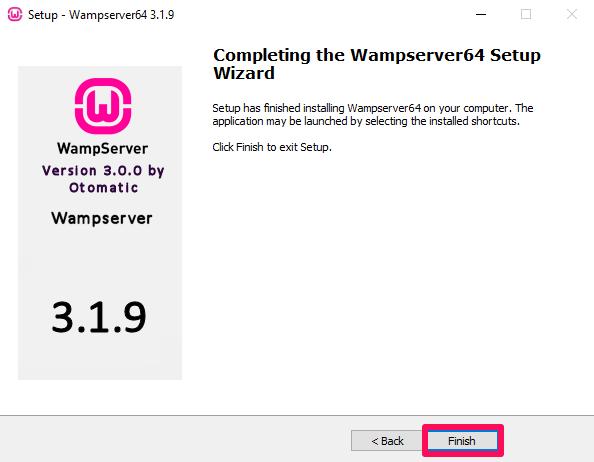 finish wamp server installation process
