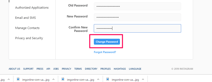 instagram web change password