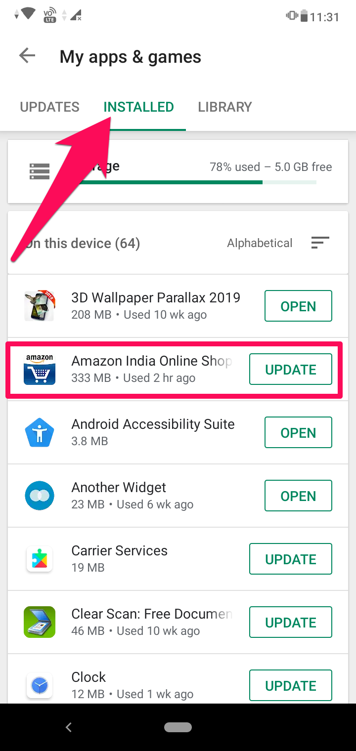 installed apps on Android