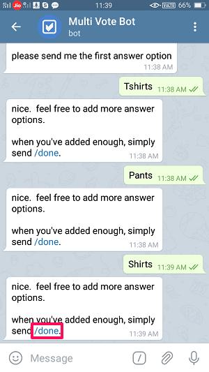 make a Telegram poll