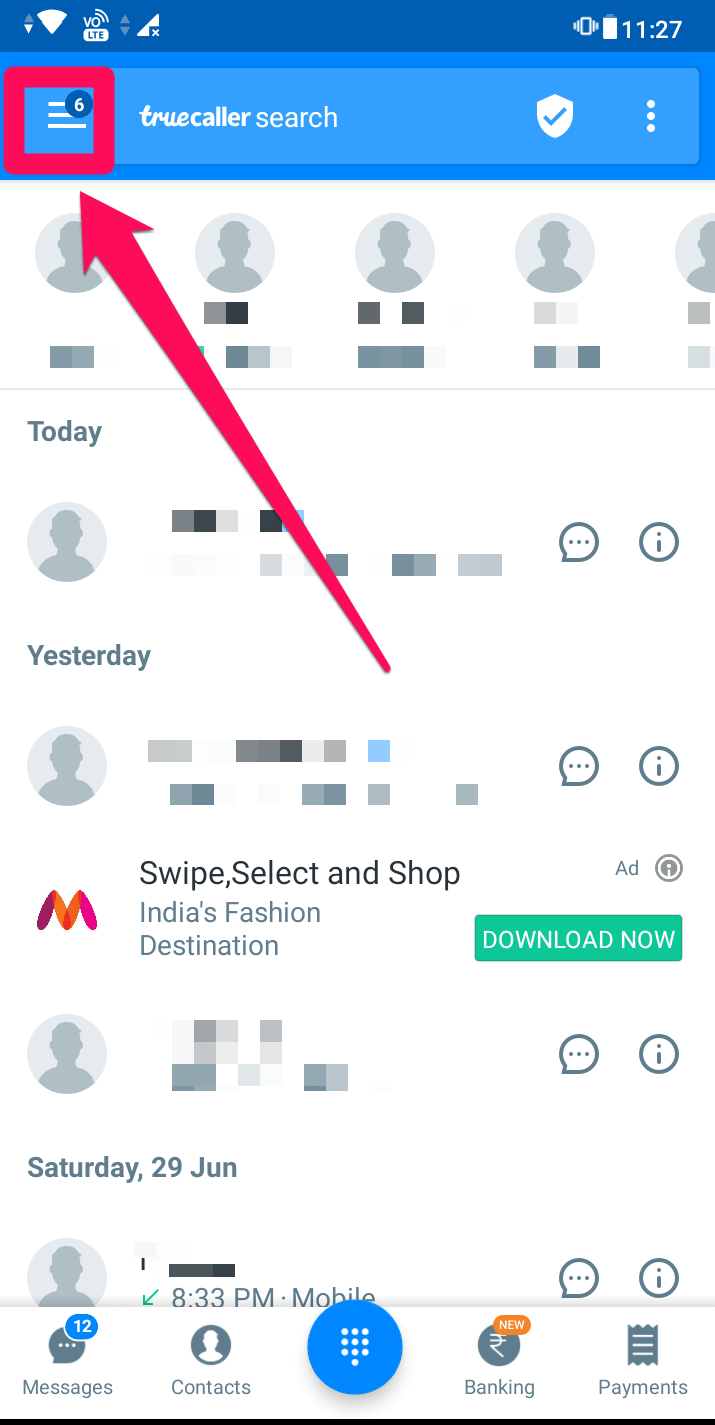 menu icon on truecaller app