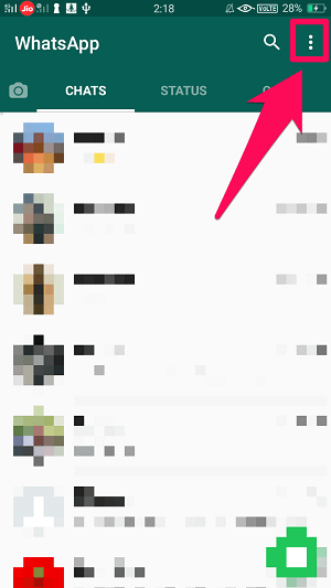 open whatsapp menu