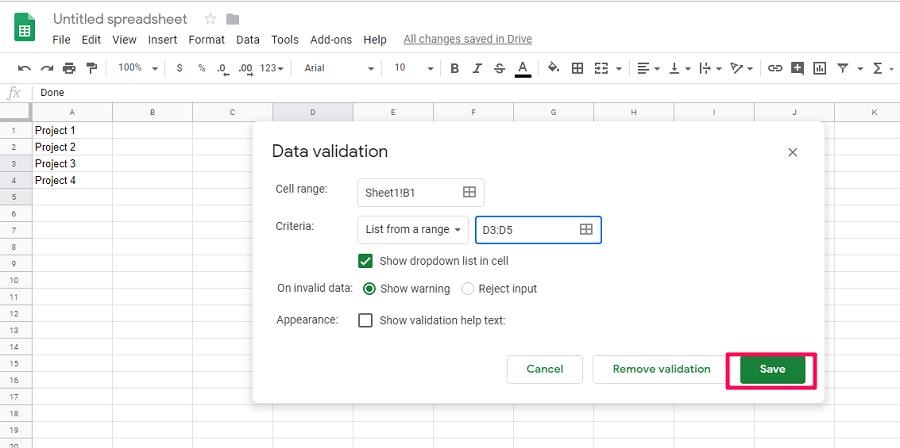save the data range