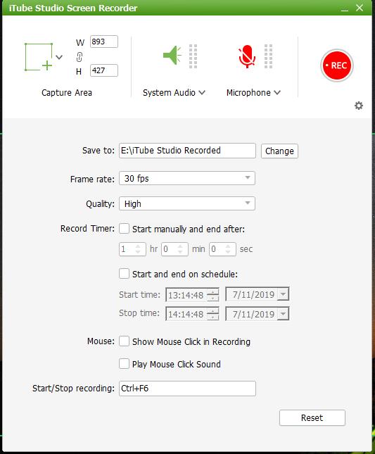 screen recorder settings