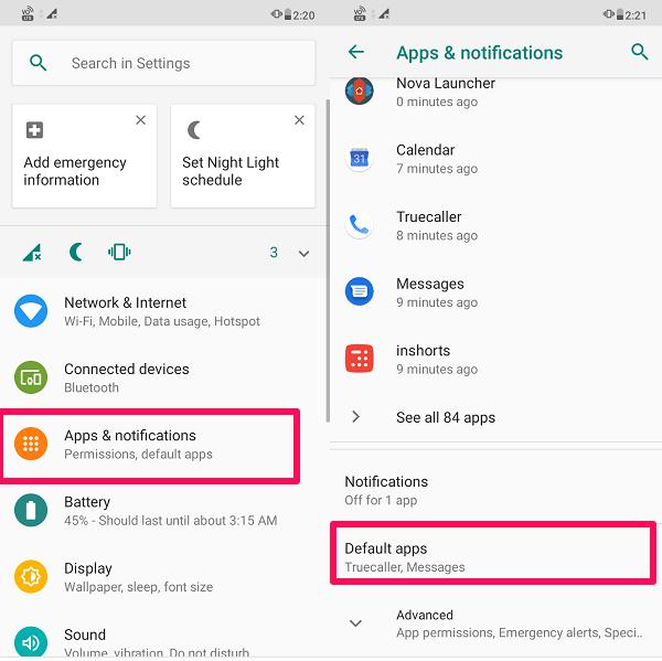 select Default apps option