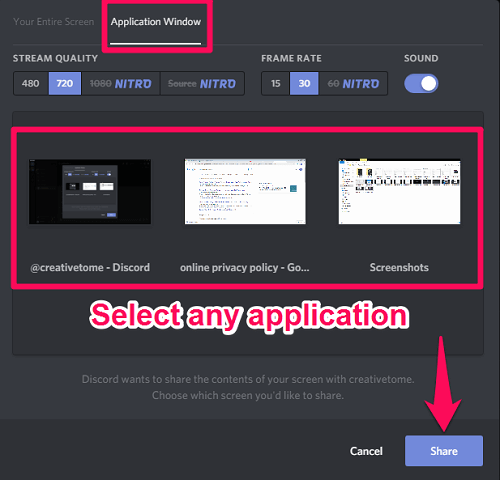 share screen on Discord
