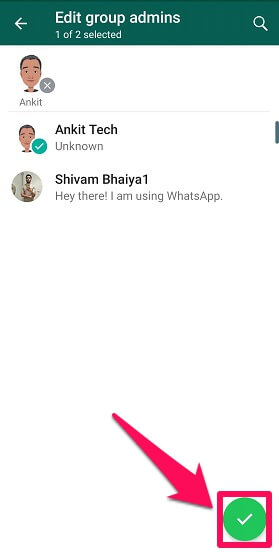 remove admin rights in bulk on WhatsApp