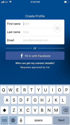 sign up page for Truecaller on iphone