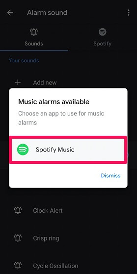 use Spotify songs as alarm on Android