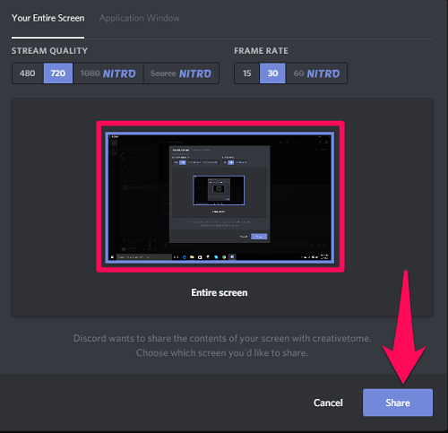screen sharing in discord