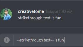 strikethrough text on discord