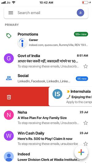 change swipe options on Gmail ios app