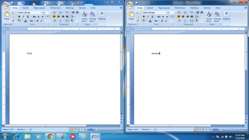 open two documents of MS Word side by side