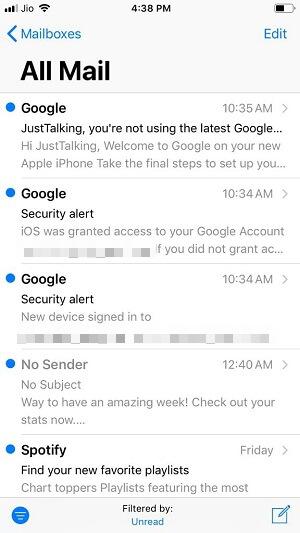 unread mails