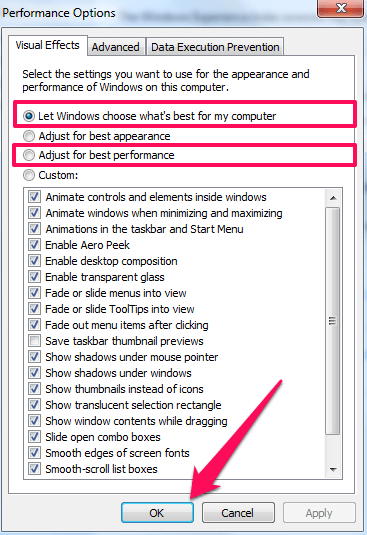 make Windows 7 faster - visual effects settings