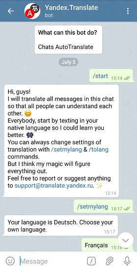yandex. translate useful Telegram bot