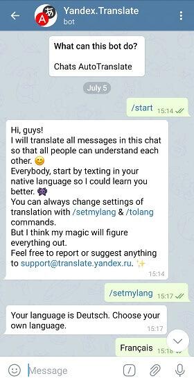 yandex. translate useful Telegram bot