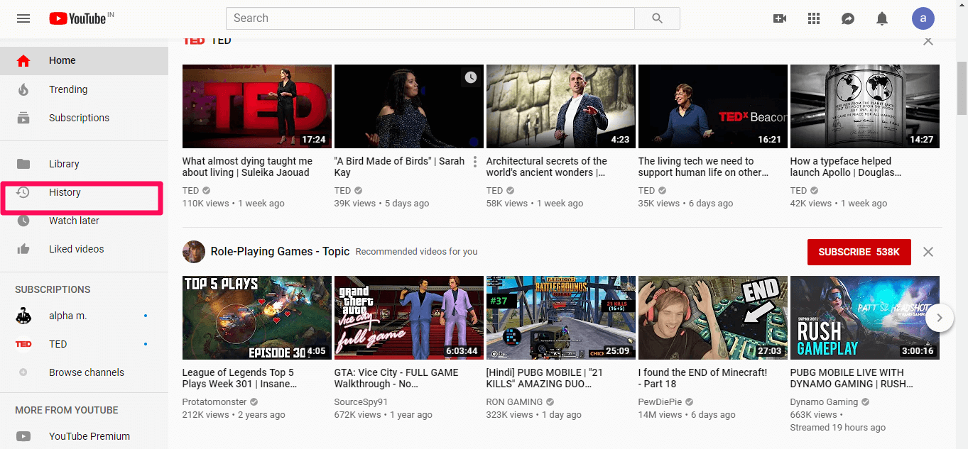 youtube history option
