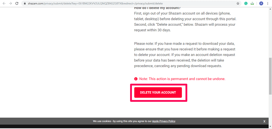 Delete Shazam account permanently