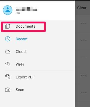 Documents option