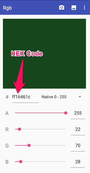 HEX code on Android