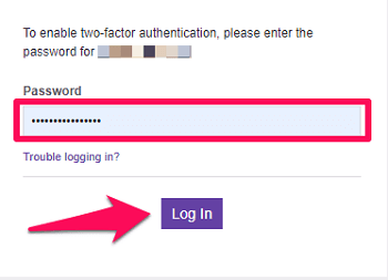 Login with your password