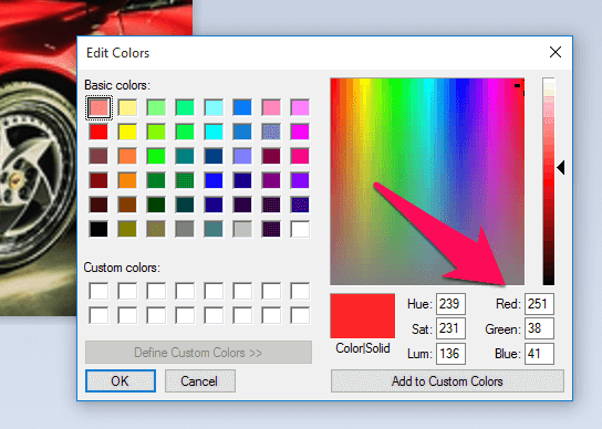 identify color code from image in Paint