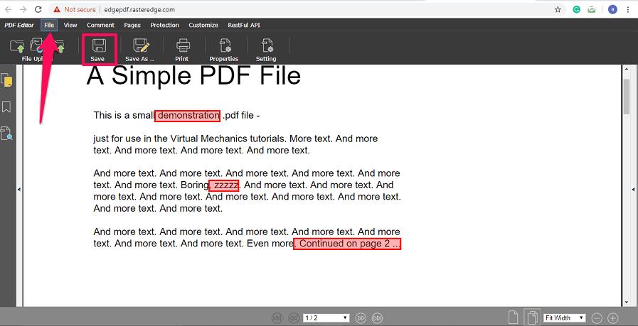 Save edited file