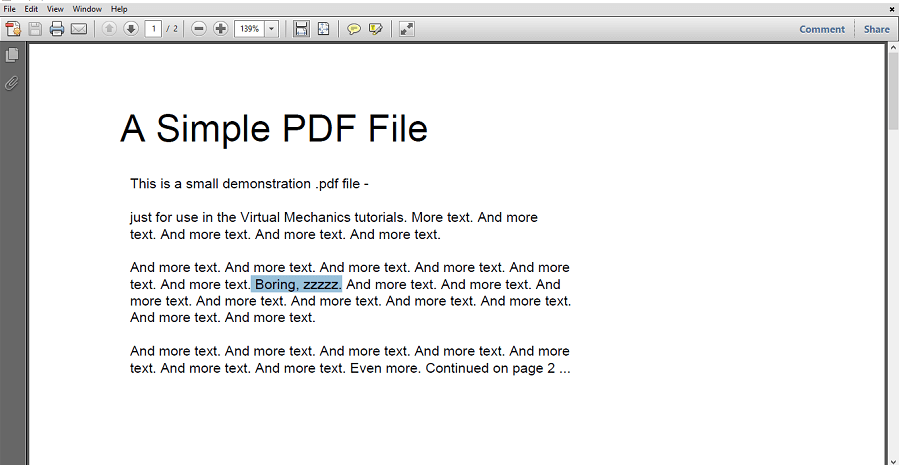 Select text in Adobe Reader