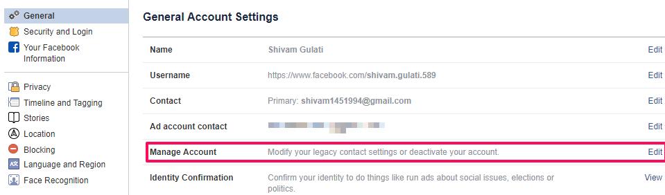 account deactivation settings