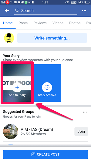 post story on Facebook business page
