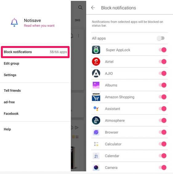 block notifications using Notisave