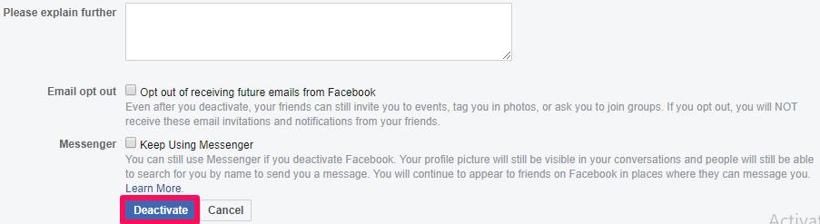 confirm deactivation