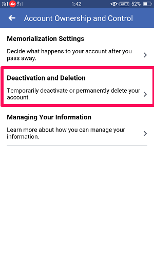 deactivate account from facebook