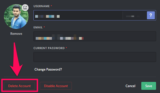 delete your discord account