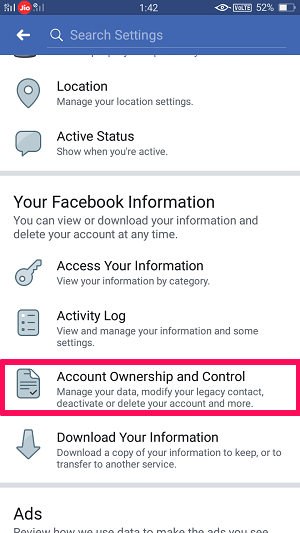 facebook account ownership