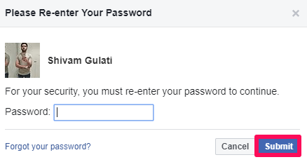 facebook password to download personal information