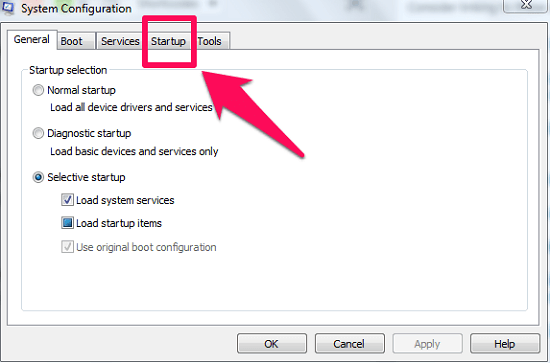 go to startup tab
