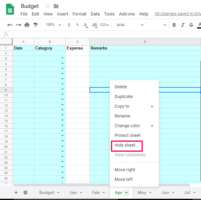 hide sheets in Google Sheets