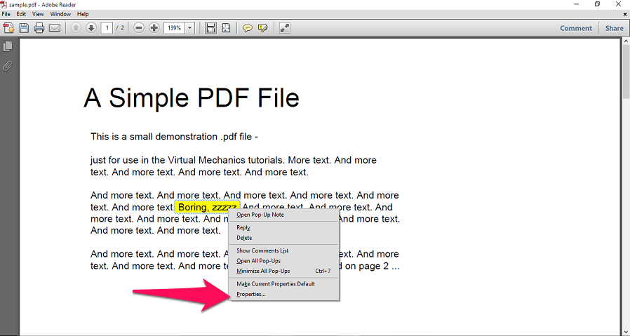 highlight text properties
