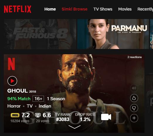 imdb rating inside Netflix on Chrome