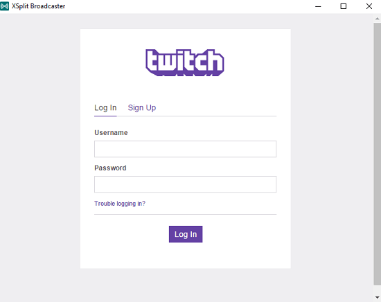 login with your twitch details