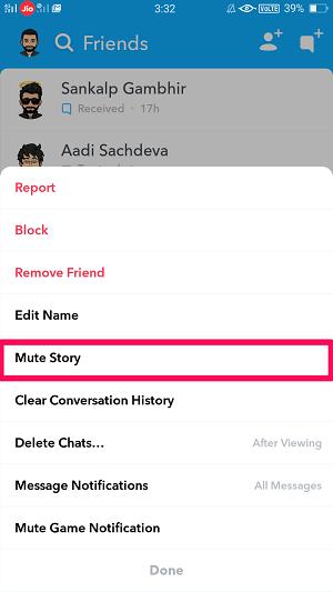 mute story on snapchat