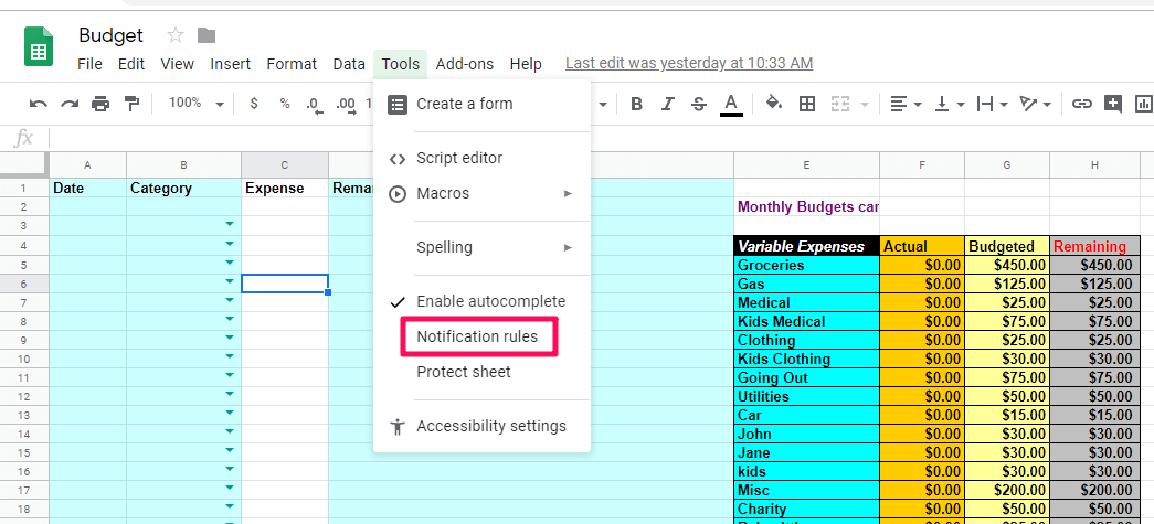 send Email when Google sheet is updated