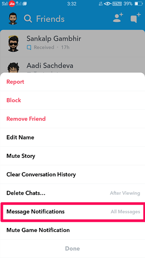 Message Notifications on Snapchat