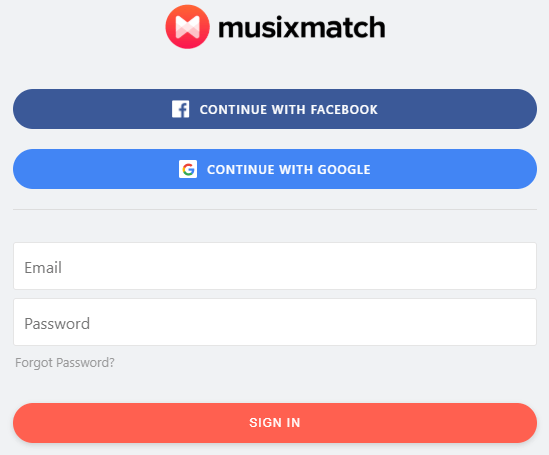 provide credentials to open musixmatch