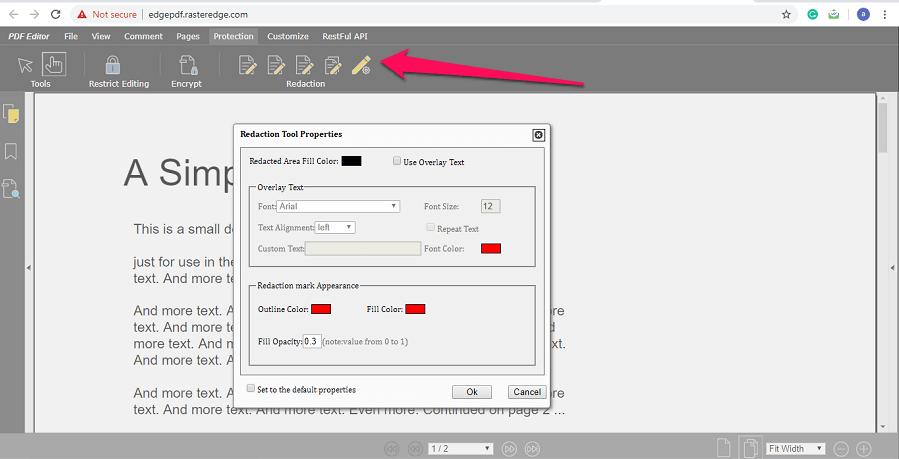 redact tool settings