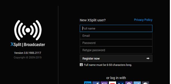 register on xsplit