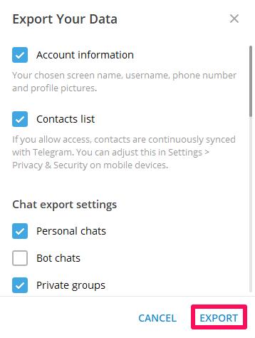 save Telegram chats on Windows PC or Mac