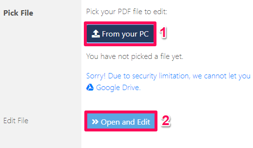select pdf file to edit